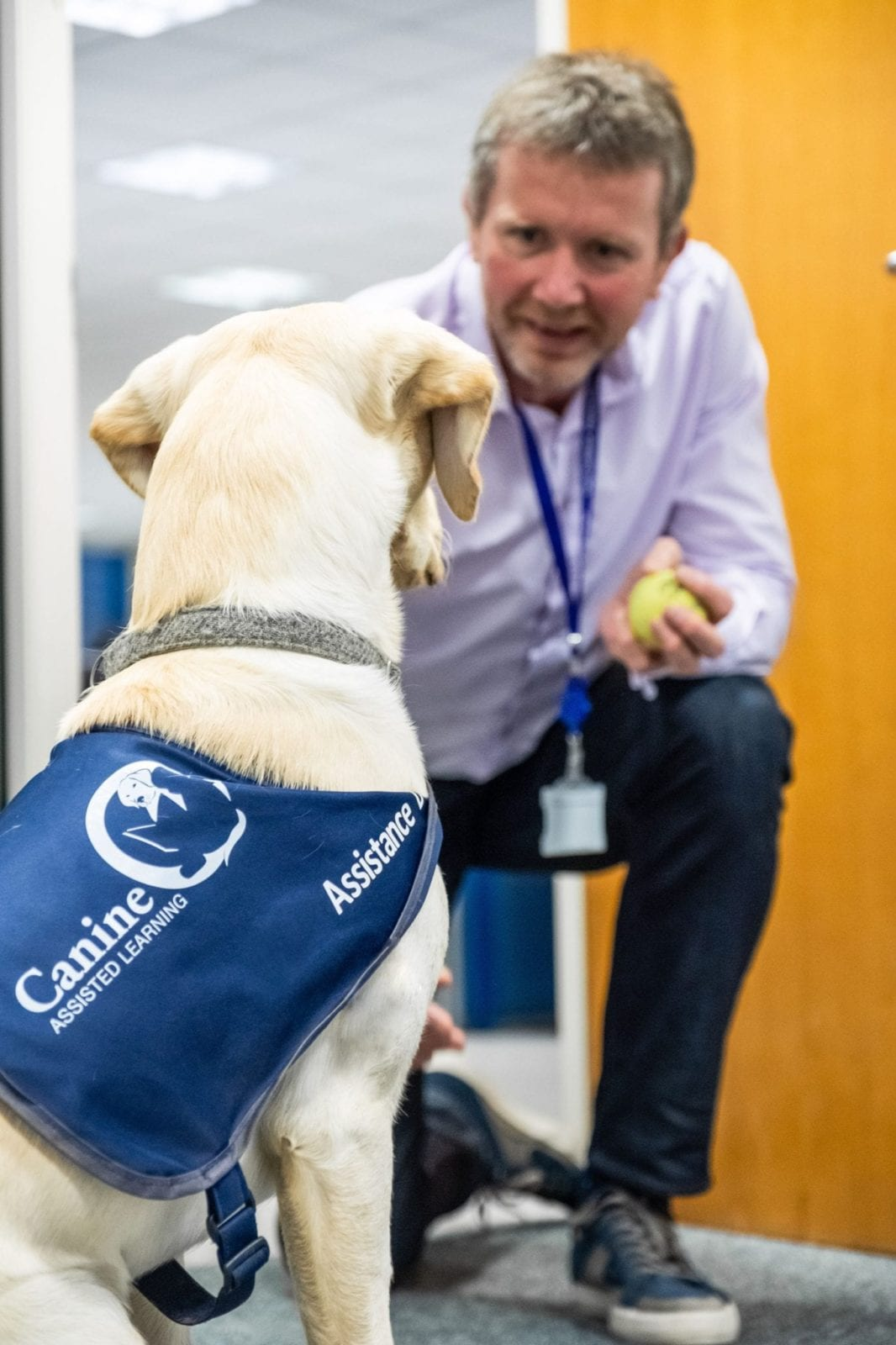 Employee with a CAL dog - www.canineassistedlearning.com