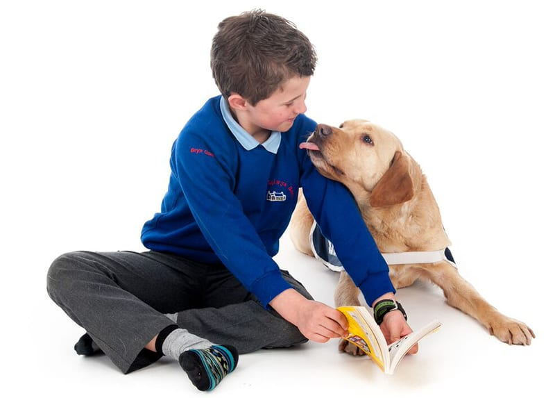 Pupil with a CAL dog - www.canineassistedlearning.com